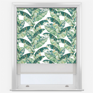Palm Leaf & White Double Roller Blind