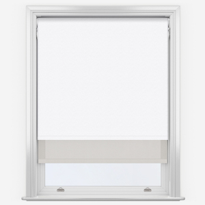 Touched By Design Supreme Blackout White & Sunvue Dove Grey Double Roller Blind