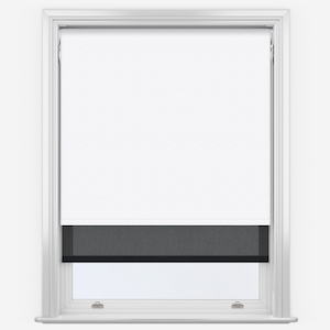 Touched By Design Supreme Blackout White & Sunvue Jet Black Double Roller Blind