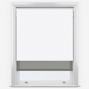 Touched By Design Supreme Blackout White & Sunvue Steel Grey Double Roller Blind