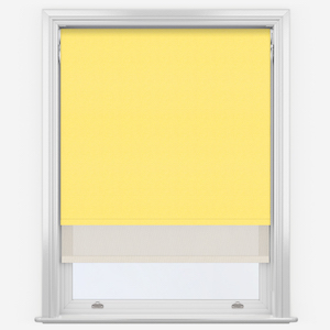 Touched By Design Supreme Blackout Primrose Yellow & Sunvue Cream Double Roller Blind