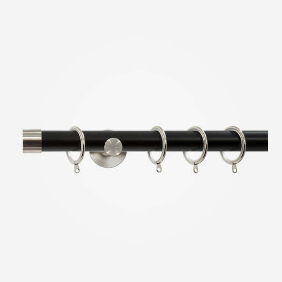 35mm Chateau Signature Matt Black With Stainless Steel End Cap Finial