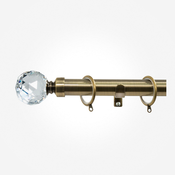 28mm Allure Classic Antique Brass Crystal Curtain Pole