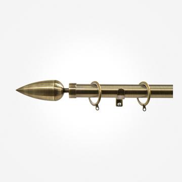 28mm Allure Antique Brass Teardrop Curtain Pole