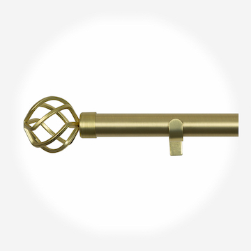28mm Allure Classic Brushed Gold Cage Eyelet Curtain Pole Curtain Pole