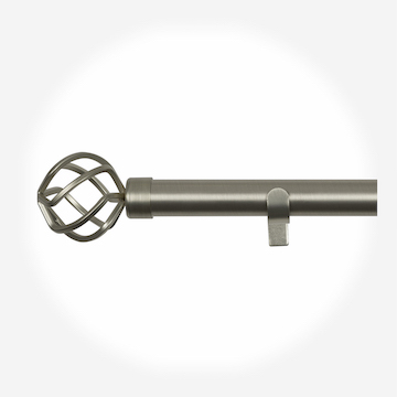 28mm Allure Classic Brushed Steel Cage Eyelet Curtain Pole Curtain Pole