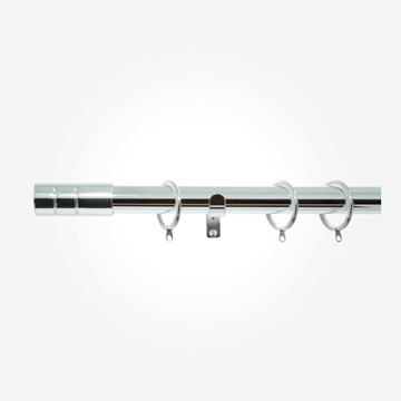 28mm Allure Polished Chrome Barrel Curtain Pole