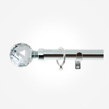 28mm Allure Classic Polished Chrome Crystal Curtain Pole