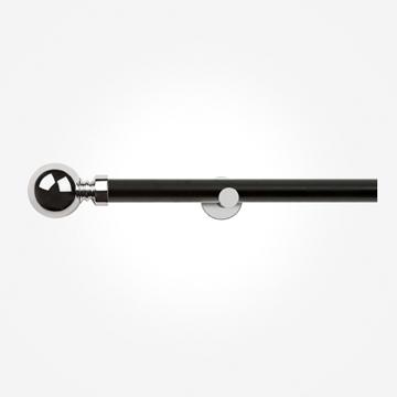 28mm Allure Signature Matt Black With Chrome Ball Eyelet Curtain Pole