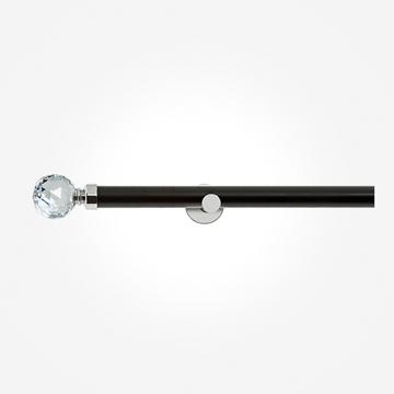 28mm Allure Signature Matt Black With Chrome Crystal Eyelet Curtain Pole