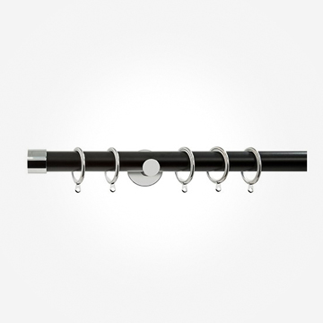 28mm Allure Signature Matt Black With Chrome End Cap Curtain Pole