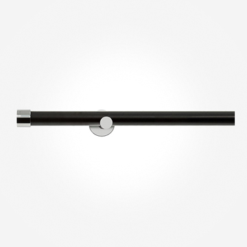 28mm Allure Signature Matt Black With Chrome End Cap Eyelet Curtain Pole