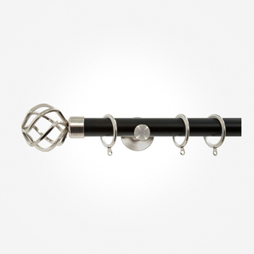 28mm Allure Signature Matt Black With Stainless Steel Cage Curtain Pole