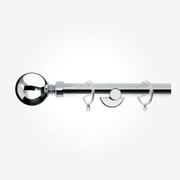 28mm Allure Signature Polished Chrome Ball Curtain Pole