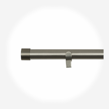 35mm Allure Classic Brushed Steel End Cap Eyelet Curtain Pole Curtain Pole