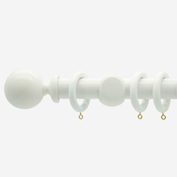 35mm Oxford Bright White Ball Finial  Curtain Pole