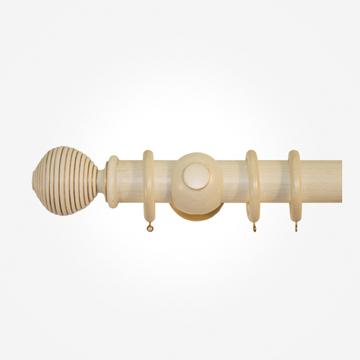 45mm Portofino Antique Cream Gold Ribbed Ball Curtain Pole
