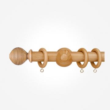 55mm Portofino Antique Pine Ribbed Ball Finial Curtain Pole