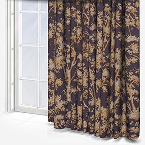 Tissu Arbre Lin Jaune / Prune Curtain