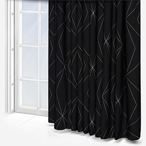 Tissus Berlin Art Gris Sur Fond Noir Curtain