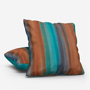 Costa Rica Tissus Papillon Turquoise / Cuivre Cushion