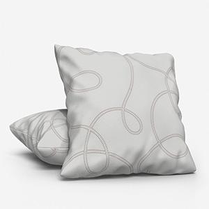 Prague Tissu Lacet Brode Taupe Cushion