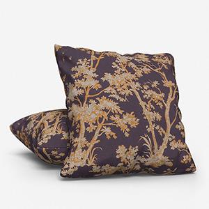 Tissu Arbre Lin Jaune / Prune Cushion
