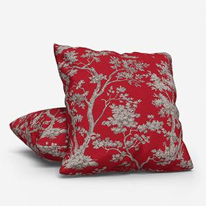 Tissu Arbre Lin Rouge Cushion