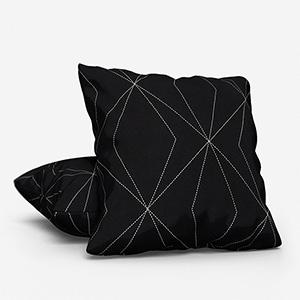 Tissus Berlin Art Gris Sur Fond Noir Cushion