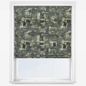 Clarke & Clarke Tessellati Charcoal Gold Roman Blind