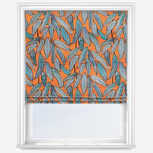Edinburgh Weavers Tropical Leaf Tangerine Roman Blind