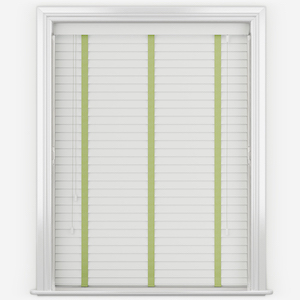 Dalby Pure White with Lime Tapes Wooden Venetian Blind