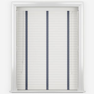 Statement Bright White with Blue Tapes Faux Wood Venetian Blind