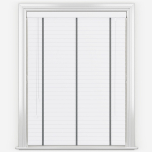 Statement Bright White with Grey Tapes Faux Wood Venetian Blind