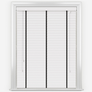 Statement Bright White with Jet Tapes Faux Wood Venetian Blind