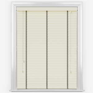 Statement Eggshell with Taupe Tapes Faux Wood Venetian Blind