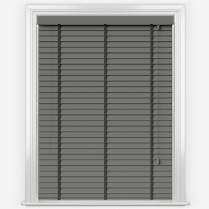 Statement Slate Grey with Jet Tapes Faux Wood Venetian Blind