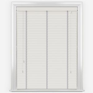 Statement True White with Light Grey Tapes Faux Wood Venetian Blind