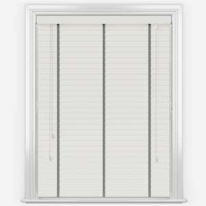 Statement True White with Slate Tapes Faux Wood Venetian Blind