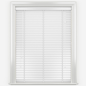 Designer Pure White with Tapes Wooden Venetian Blind