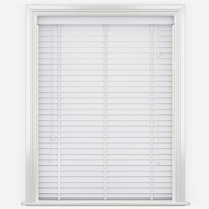 WoodLux Bright White with Tapes Faux Wood Venetian Blind