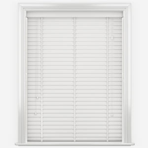 WoodLux Warm White with Tapes Faux Wood Venetian Blind