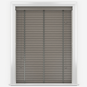 WoodLux Whisper Grey with Tapes Faux Wood Venetian Blind